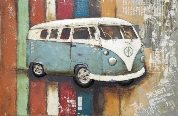 3D Wandbild aus Eisen - VW Bus
