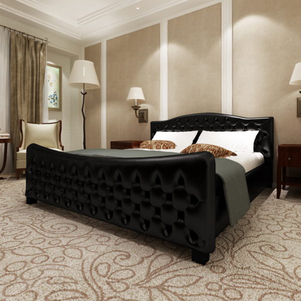 Luxus Kunstlederbett Bett mit Matratze und Lattenrost 180 cm