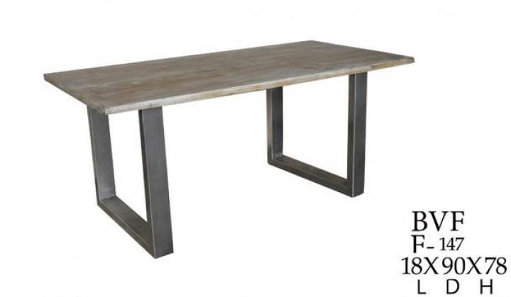 industrial chic esstisch mit eisengestell aus massivholz industrie look tische industrial. Black Bedroom Furniture Sets. Home Design Ideas