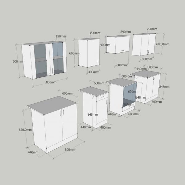 Einbauküche Küchenzeile hellbraun 260 cm