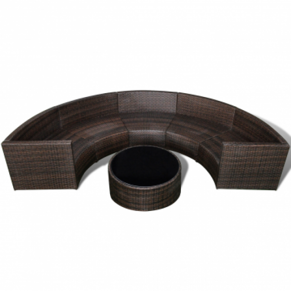 gartenm bel set halbrundes rattan sofa set mit tisch braun m bel garten. Black Bedroom Furniture Sets. Home Design Ideas
