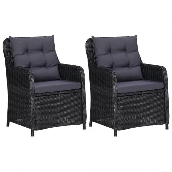Gartenstühle 2 Stk. mit Auflagen Poly Rattan Schwarz