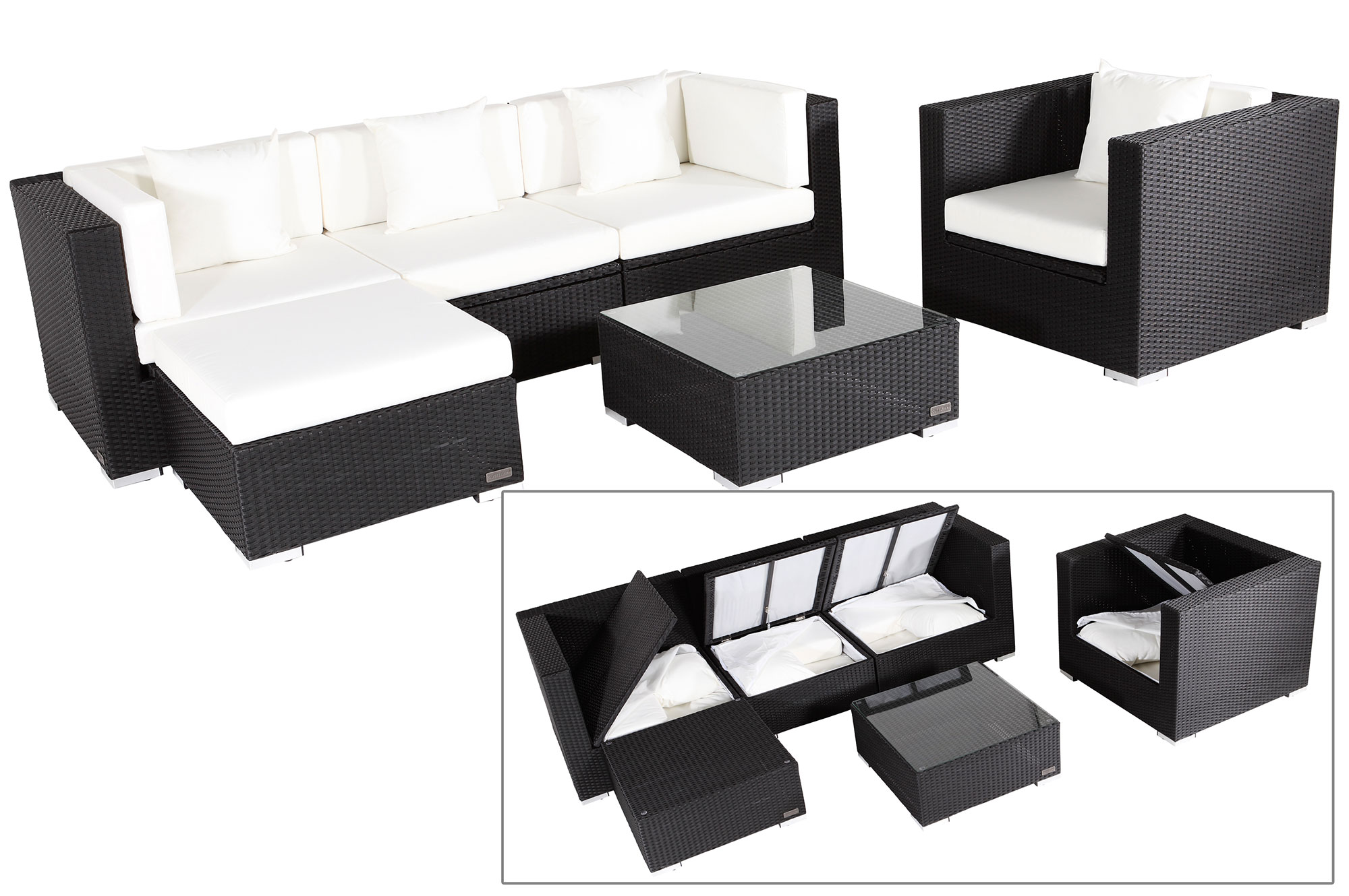 outflexx sitzgruppe aus polyrattan mit kissenboxfunktion inkl polster f r 5 pers schwarz. Black Bedroom Furniture Sets. Home Design Ideas