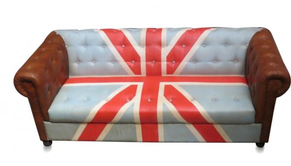 Ledersofa Vintage mit Union Jack Flagge - NUR ABHOLUNG!