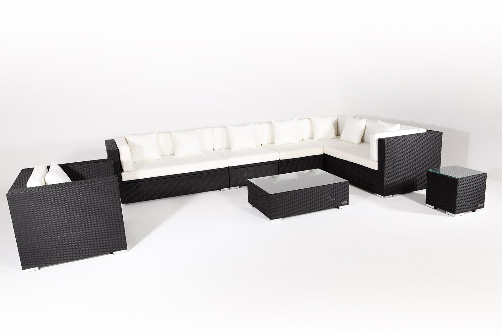 outflexx sitzgruppe xxl aus polyrattan mit kissenboxfunktion inkl kissen f r 8 pers schwarz. Black Bedroom Furniture Sets. Home Design Ideas