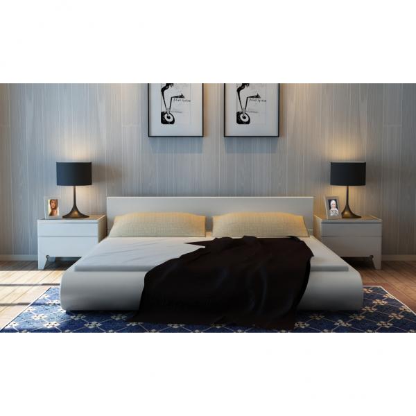 Kunstleder Platform Bett mit Matratze