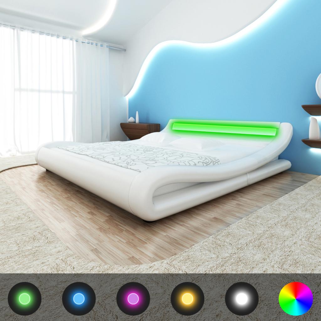 Bett 200 X 180 Cm Weiß Led Licht Streifen Mit Matratze Lattenrost
