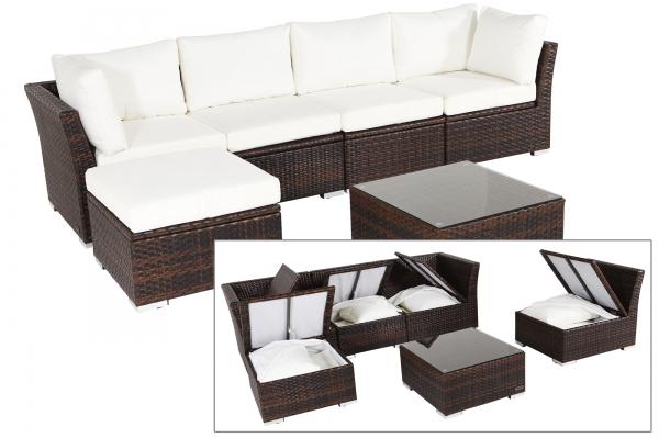 OUTFLEXX Rattan Gartenmöbel aus Polyrattan, mit Kissenboxfunktion, für 5 Personen, braun-marmoriert