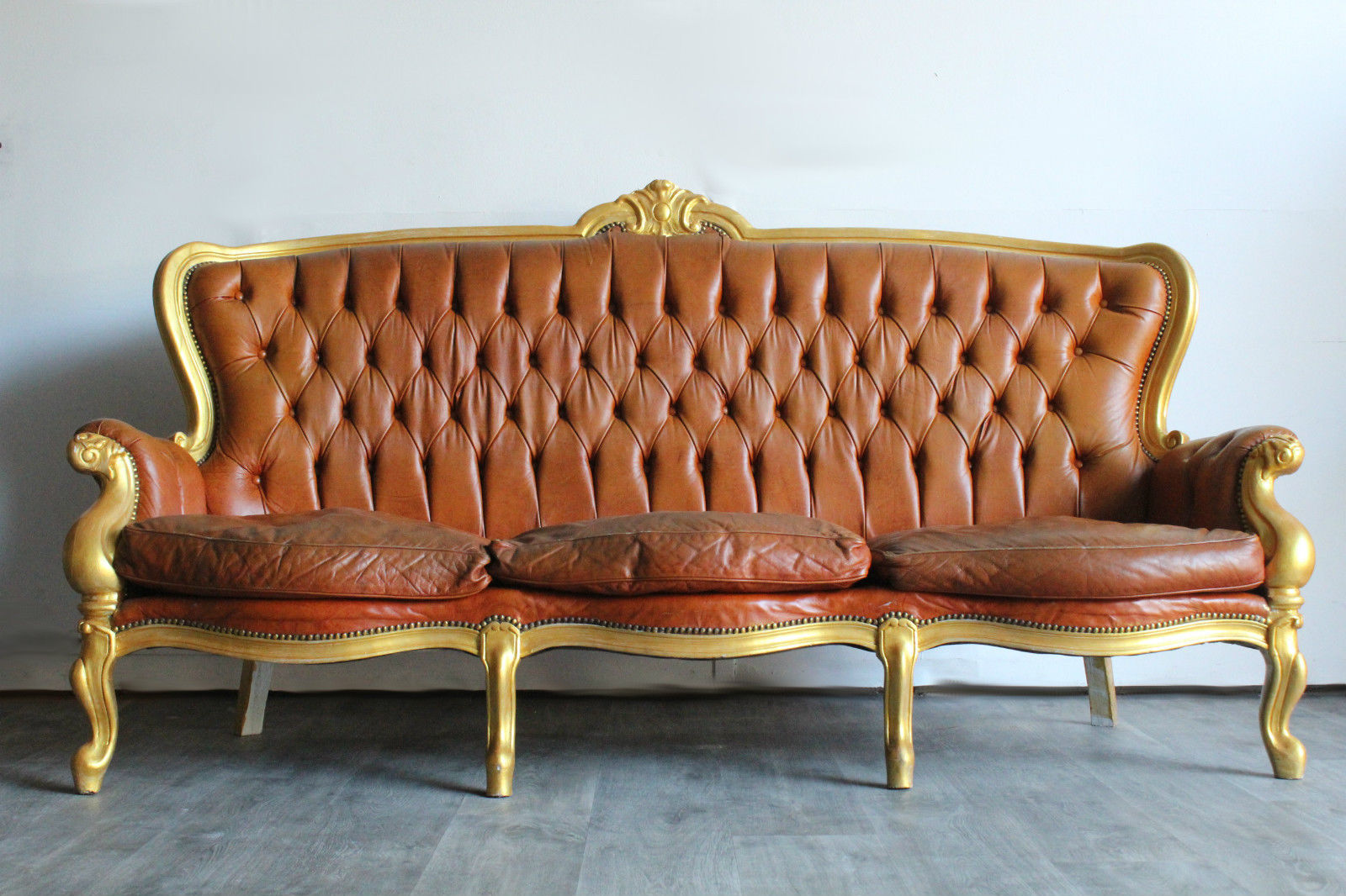 BAROCK SOFA Leder Chesterfield Couch antik Chippendale Unikat