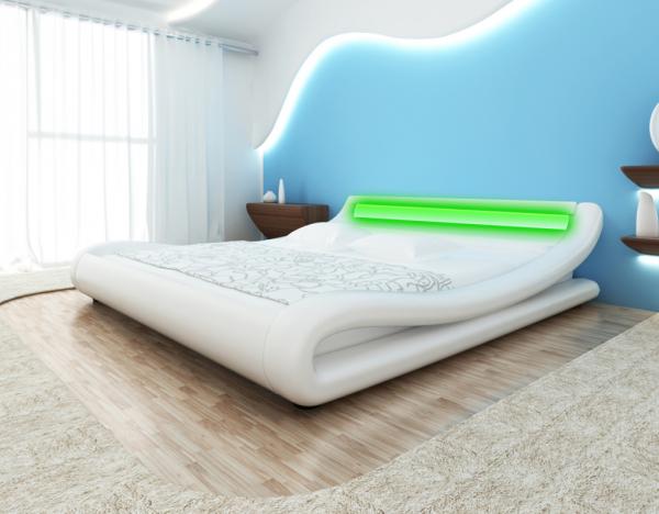 Lederbett weiß 180x200cm mit LED-Streifen + Matratze