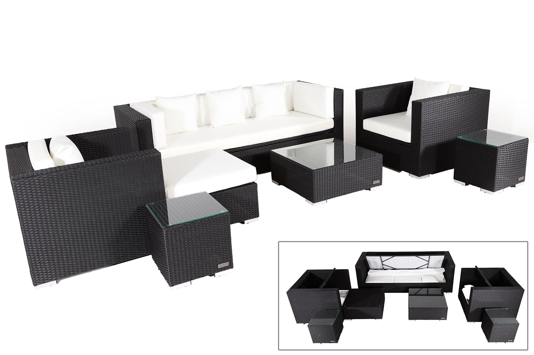 outflexx rattanm bel sitzgruppe aus polyrattan mit kissenboxfunktion inkl 2 hockern. Black Bedroom Furniture Sets. Home Design Ideas