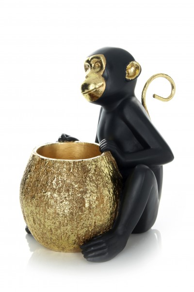 Skulptur Sitting Monkey 110 Gold / Schwarz