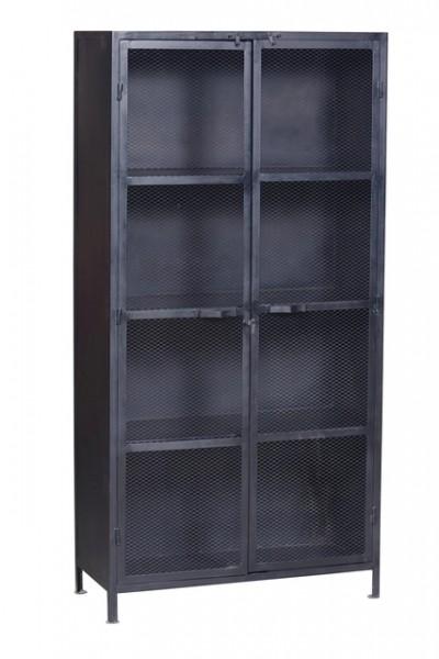 Eisenschrank Spind schwarz mit Türen und Fächern