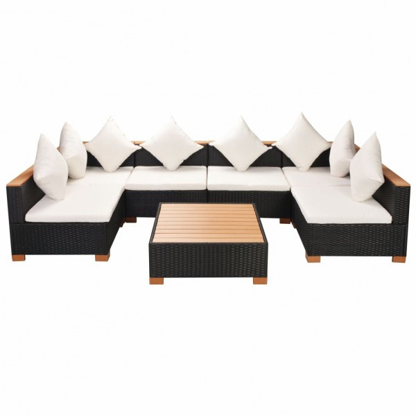 Garten-Lounge-Set Poly Rattan WPC