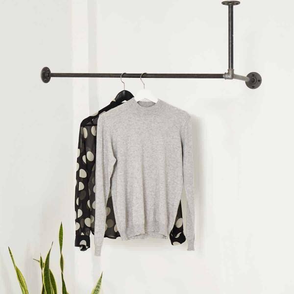 Industrial Garderobe für Deckenmontage in L-Form Wasserrohr