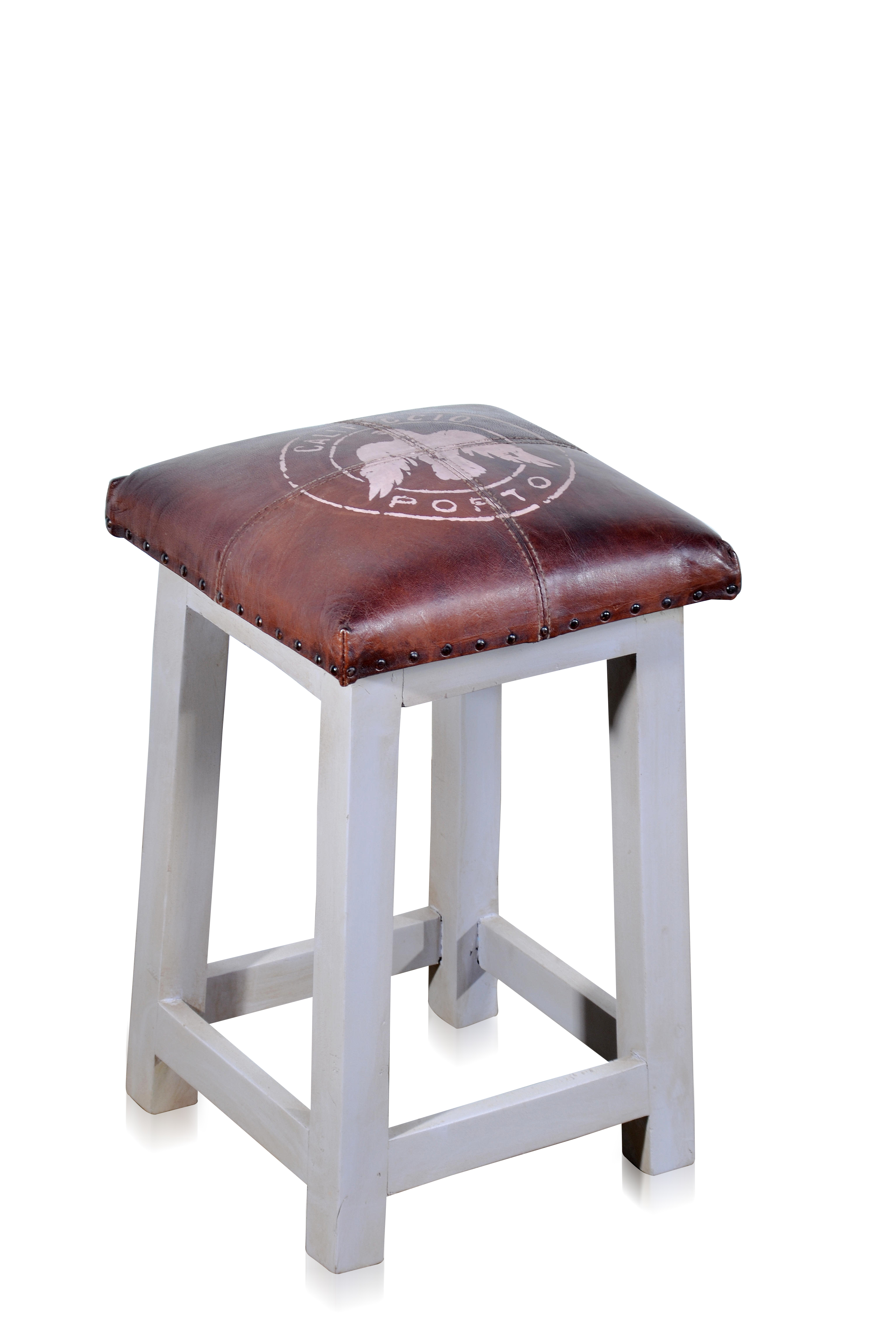 Indischer Vintage Hocker Aus Holz Und Leder Sitzmöbel Industrial