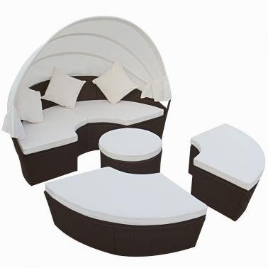 Rattan Sonnenliege Gartenmöbel 2-in-1 Sitzgarnitur Braun