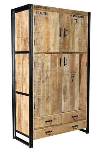 industrial chic kleiderschrank aus massivholz moebeldeal. Black Bedroom Furniture Sets. Home Design Ideas