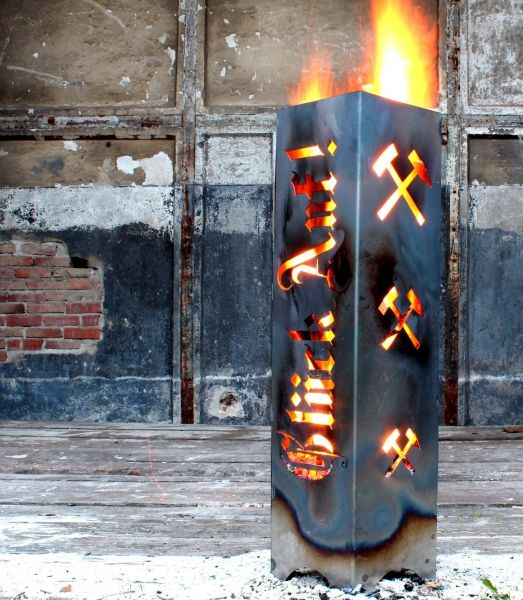 FEUERSÄULE RUHRGEBIET Feuerschale Feuerkorb Kamin 62,5 cm - Souvenir