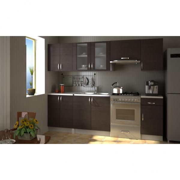 Einbauküche 240 cm Dunkelbraun Küchenzeile
