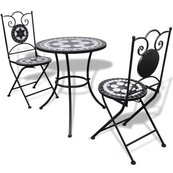 Garten Bistro-Set Mosaik Stühle Tisch 60 cm Schwarz Weiß