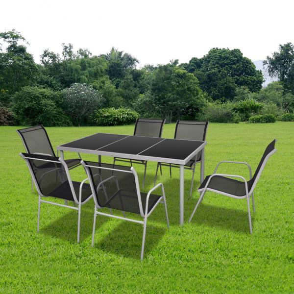 Gartenset Set 1 Esstisch + 6 Stühle + 1 Tisch