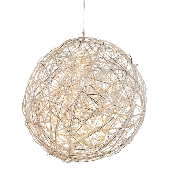 Deckenleuchte Ball geflochten aus Metall, Aluminium