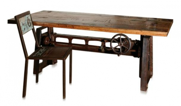 Industrial Chic Esstisch aus Holz und Eisen