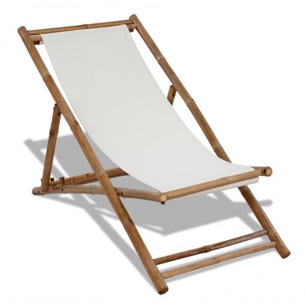 Liegestuhl Klappbar Bambus und Segeltuch