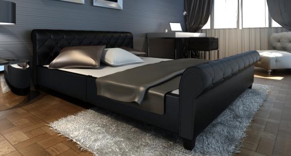 Kunstleder Bett 180cm schwarz mit Matratze
