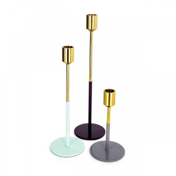 Kerzenhalter 3er Set Saga 150 Gold / Mint / Pflaume / Grau