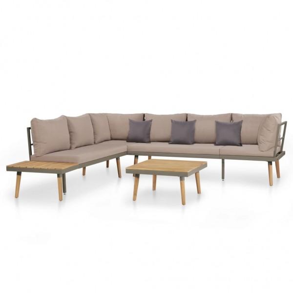 Garten-Lounge-Set mit Auflagen Massivholz Akazie Braun 4-tlg.