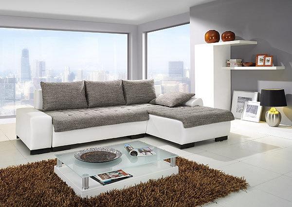 Couchgarnitur Sofa Schlafsofa weiß-grau