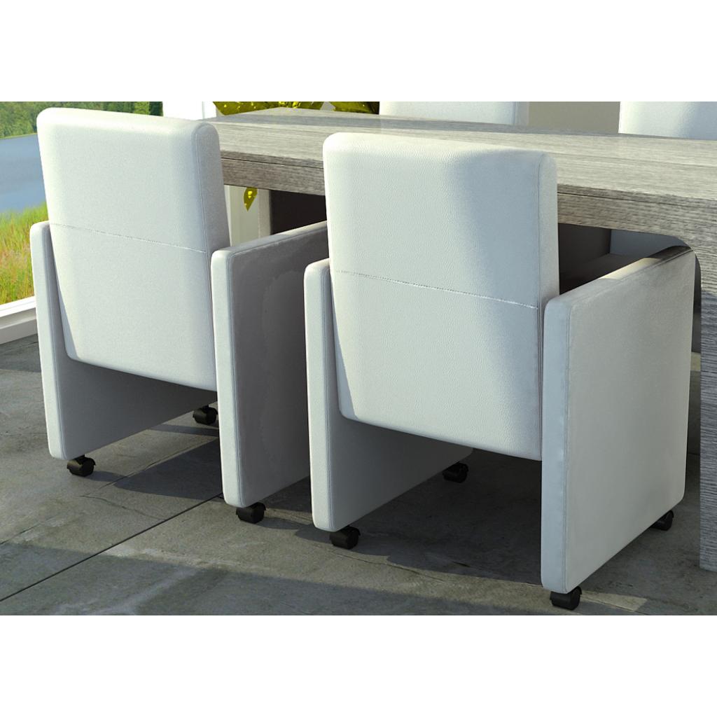 Esszimmer Stühle (2er Set) auf Rädern weiß gepolstert | Stühle ...