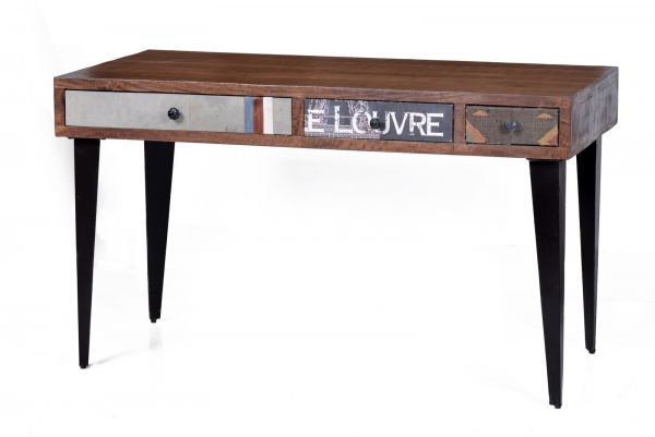 Schreibtisch Vintage - Materialmix Wood & Textile