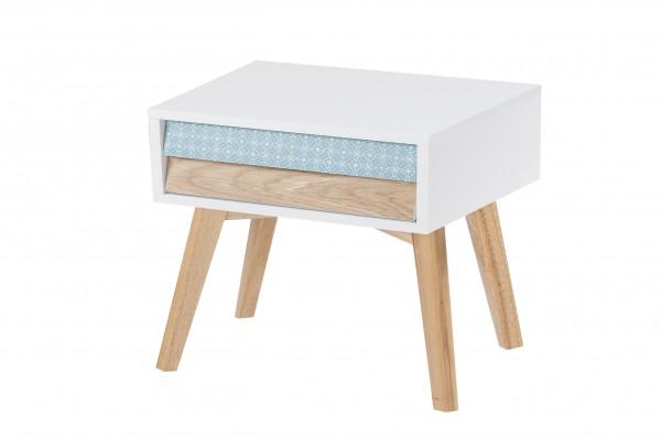 Nachttisch Hailey Weiß / Blau / Holz