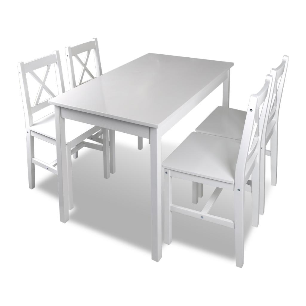 Holztisch + 4 Stühle Möbel Set Weiß Tisch Esstischset | Sets | Küche ...