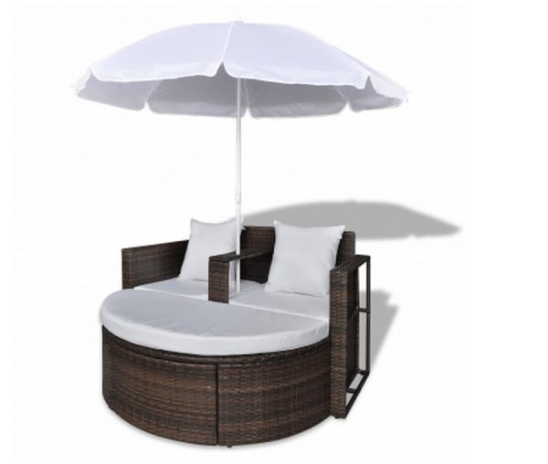 Gartenlounge Rattan Lounge Set Gartengarnitur Braun