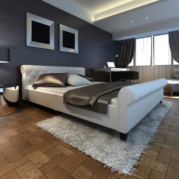 Kunstleder Bett 180cm weiß