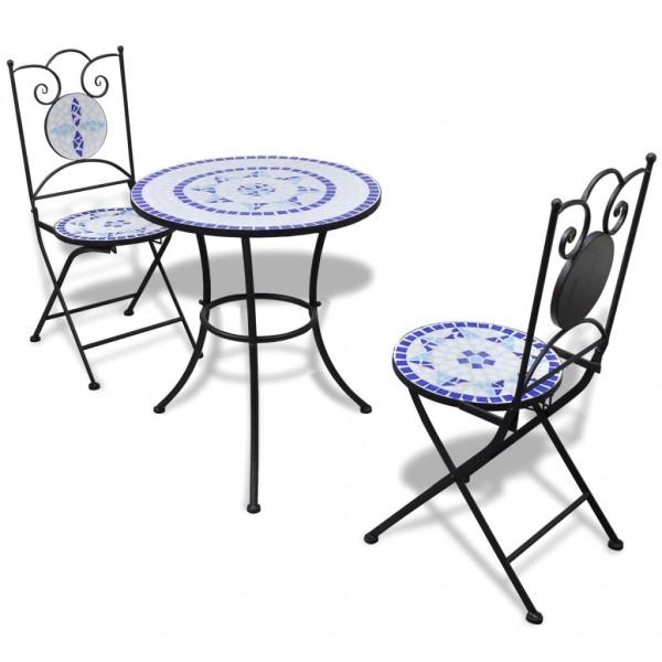 Garten Bistro-Set Mosaik Stühle Tisch 60 cm Blau Weiß