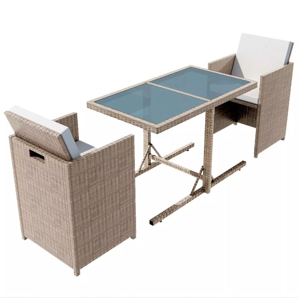 gartenm bel set poly rattan grau beige. Black Bedroom Furniture Sets. Home Design Ideas