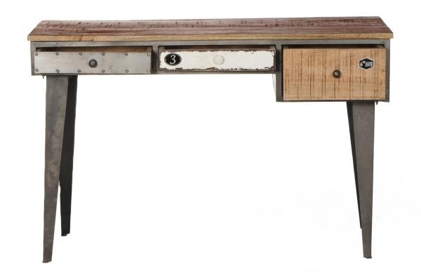 Massivholz Schreibtisch Retro - Materialmix