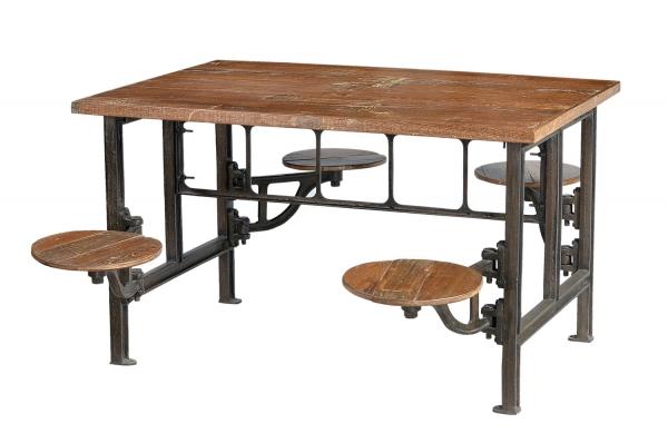 Massivholz Esstisch Industrial Look Industriell mit Sitzen