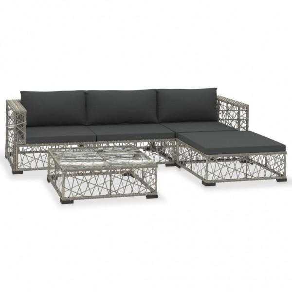 5-tlg. Garten-Lounge-Set mit Auflagen Poly Rattan Grau