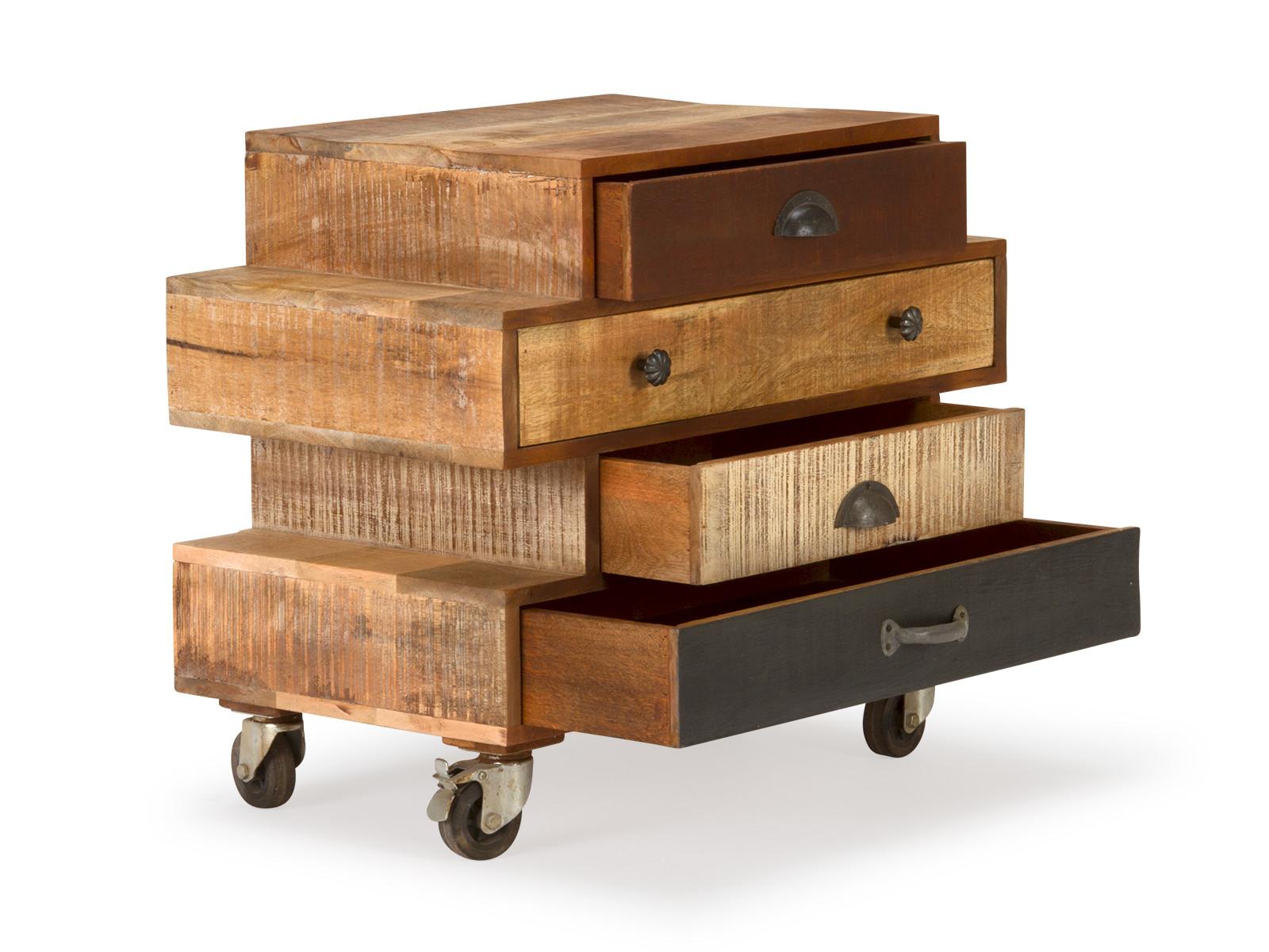 shabby kommode aus mangoholz auf rollen versandkostenfreie m bel online bestellen. Black Bedroom Furniture Sets. Home Design Ideas