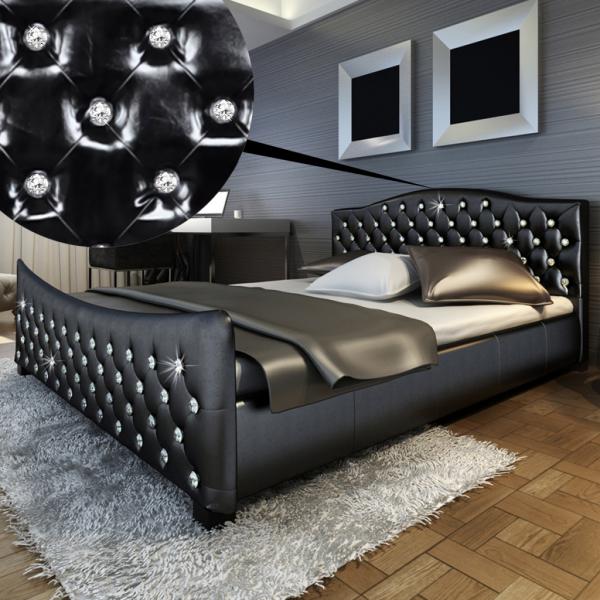 PU Bett 180x200cm schwarz mit Akrylkristall inkl. Matratze