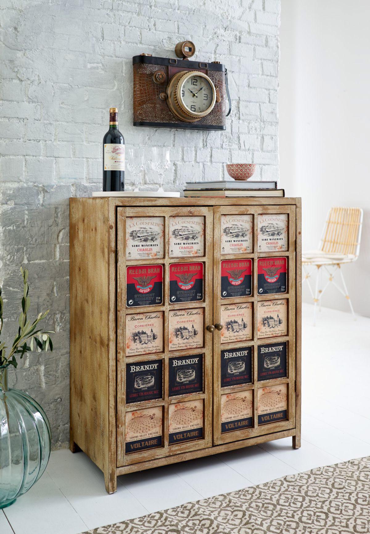 weinschrank kommode im used look von miavilla versandkostenfrei bestellen. Black Bedroom Furniture Sets. Home Design Ideas