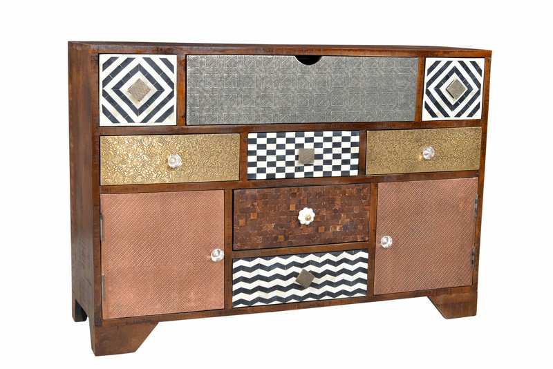 vintage kommode ebony sideboard materialmix versandkostenfreie m bel online. Black Bedroom Furniture Sets. Home Design Ideas