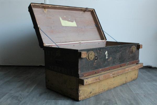 SEEKISTE ANTIK Truhe Holz Shabby Chic bunt Kiste massiv Fracht original Vintage
