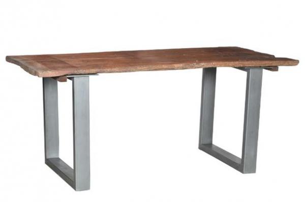 Industrial Chic Design Tisch aus Massivholz mit Eisengestell